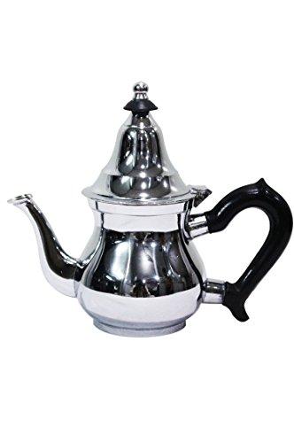 Marokkanische Teekanne aus Messing verchromt 200ml mit Sieb und Kunststoffgriff | Orientalische Kanne Baran 0,2 L silberfarbig mit Deckel | Verschiedene Größen (200ml)
