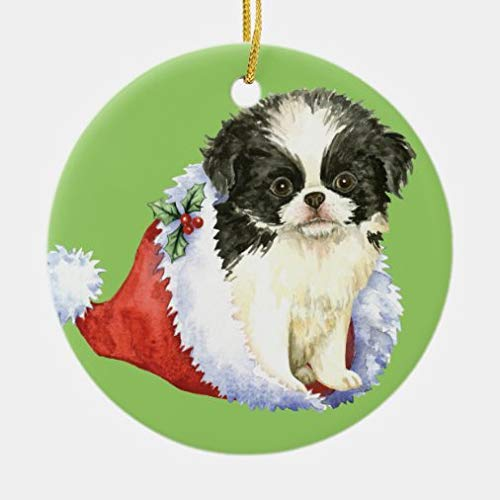 onepicebest Christmas Ornaments,Round Happy Howlidays Japanese Chin Ceramic Ornament Xmas Gifts Presents, Holiday Tree Decoration Stocking Stuffer Gift