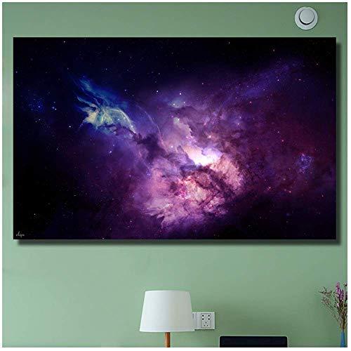 Nordic poster en printen, decoratie voor thuis, sterren, hemels, schaduw, in pins, blauw, olieverfschilderij, kleur violet, voor woonkamer, slaapkamer, 60 x 100 cm, zonder lijst