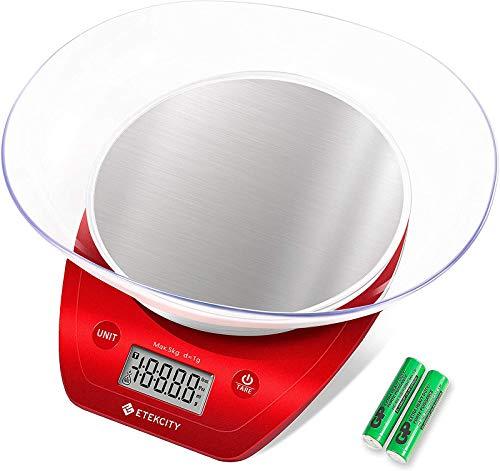 Etekcity Balance de Cuisine Electronique de Haute Précision en Acier Inoxydable, Multi-Fonction, 5kg/11lb, Bol Amovible, Mesure de Liquide (rouge)