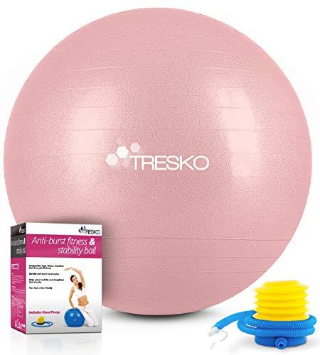 TRESKO Gymnastikball mit GRATIS Übungsposter inkl. Luftpumpe - Yogaball BPA-Frei | Sitzball Büro | Anti-Burst | 300 kg,Rose-Gold,75cm (für Körpergröße 175 - 185cm)