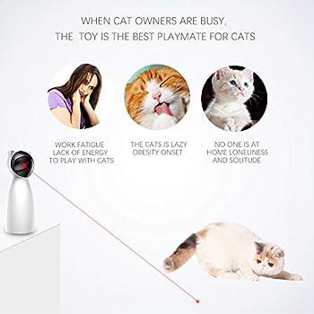 Qnlly LED Cat Lumière Toy, Cat Interactiave Jouets, Auto Gyrophare Chaser Jouet, Animaux Divertissement Intelligence Fun avec câble USB de Charge pour Les Chats et Les Chiens