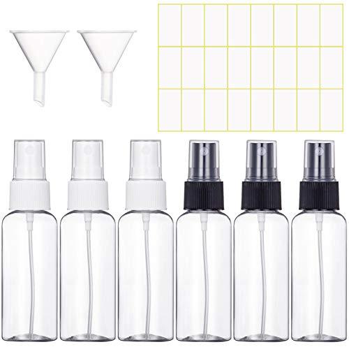 MELLIEX Zerstäuber durchsichtig leere sprühflasche nachfüllbar feinen nebel parfümzerstäuber 6 x 50 ml
