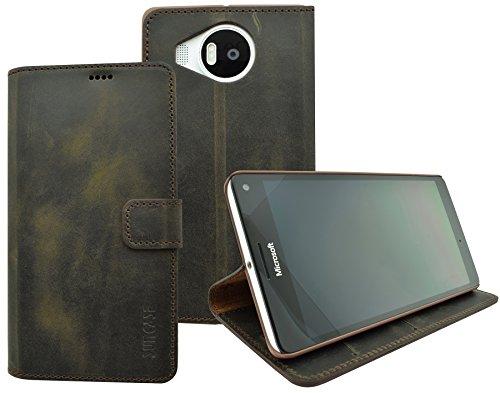 Suncase Book-Style (Slim-Fit) für Microsoft Lumia 950 XL Ledertasche Leder Tasche Handytasche Schutzhülle Hülle Hülle (mit Standfunktion & Kartenfach) antik braun