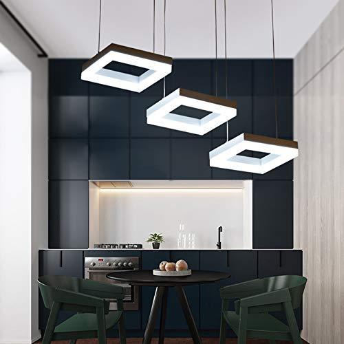 Modern Hängeleuchte 3-Flammige Esstisch Pendelleuchten Dimmbar LED Kronleuchter mit Fernbedienung Höhenverstellbar Aluminium Acryl Pendellampe für Schlafzimmer Restaurant Flur Deko Lampen
