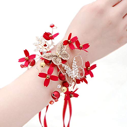 MYW Fashion Wedding Pols bloem corsage Party Flower Decoratie met de hand Kunstmatige Flower Butterfly Polsband (Color : Red, Number : 2 pcs)