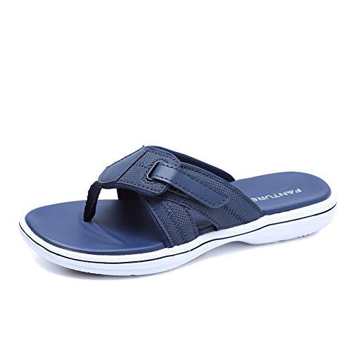 FANTURE Women Arch Support Sandal for Comfortable Walk Thong Style Casual Flip Flops U419SLT002-Navy Blue-02-42