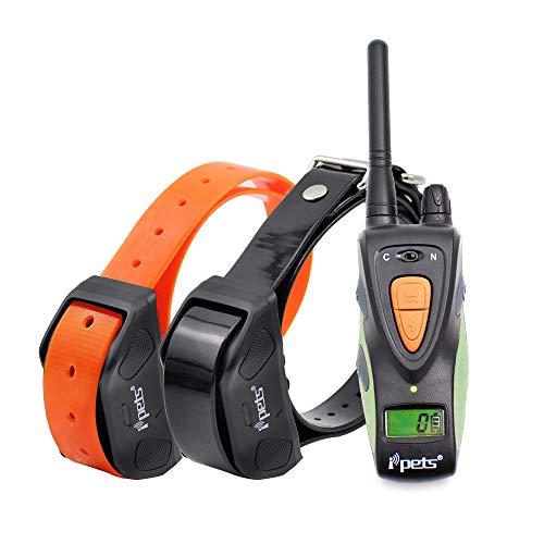 Ipets FilAnimal PET617 Original, 800 Metros para 1 o 2 Perros a la Vez 100% Sumergible - 2 Modos, Manejo Sencillo, ergonómico y pequeño - (B - con 2 receptores Collares)