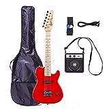 Grote MINI 30 In Kids Electric Guitar Solid Body, Gigbag,5W AMP (RED)