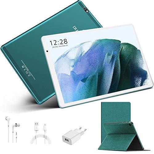 Tablet 10.1 Pulgadas, Tableta Android 10.0 4GB RAM+64GB ROM 128GB Escalables, 8000mAh Tablet PC Baratas y Buenas, Cámara 8MP+5MP, 4G Dual SIM, Netflix, GPS, Certificación Google GMS(Verde)