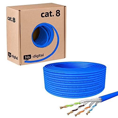 HB-DIGITAL 50m Cat. 8 Netzwerkkabel Verlegekabel Installationskabel B2Ca Datenkabel Innen-∅ 0,6 mm Ethernet LAN Kabel bis zu 40 Gbit/s Kupfer S/FTP max. 2000 MHz PIMF LSZH Halogenfrei AWG 22/1 blau