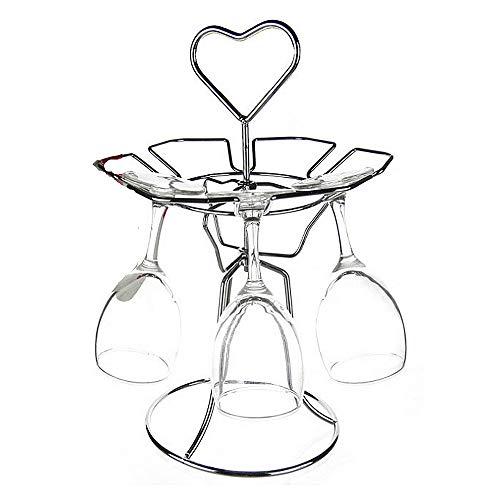 Huangjiahao Portabottiglie Bicchiere da Vino in Metallo Stand Chrome Colore decadente Stile Decanter Titolare Scaffale da Tavolo stoccaggio Rack per 6 Bicchiere di Vino per Cucina Bar Casa