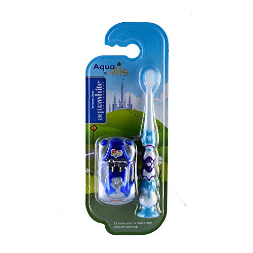 aquawhite aquaville Toothbrush with Car Toy for Boy Kids, Soft Bristles. (Blue), For 2+ Age