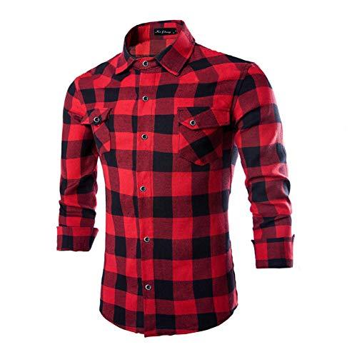 BeIM Herr Hemd Karohemd Kariert Hemd Flanellhemd mit Brusttaschen Langarmhemd,Rot,M