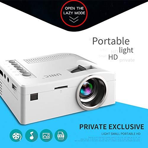 QFTFX Tragbarer Videoprojektor Full HD 1080P Heimkino-Beamer Preiswerter Proyector mit HDMI AV SD VGA (Color : White)