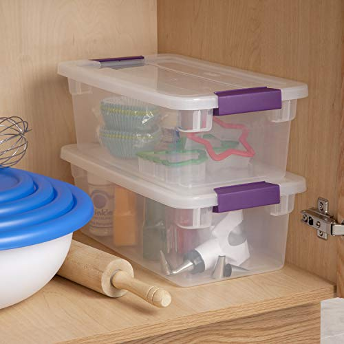 Sterilite 17511712 6 Quart57 Liter ClearView Latch Box Clear with Sweet Plum Latches 12-Pack