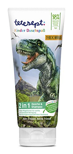 tetesept 2 in 1 Kinder Shampoo und Duschgel T-Rex-World – pH-hautneutrales Kinder Duschgel mit Panthenol – Pflegedusche mit Apfelduft – 1 x 200 ml