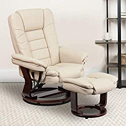 Flash Furniture Contemporary Beige Leather Recliner- best living room chair for back pain