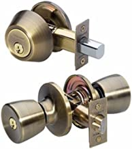 Master Lock Keyed Entry Door Lock, Single Cylinder Deadbolt with matching Tulip Style Knob, Antique Brass, TUCO0605