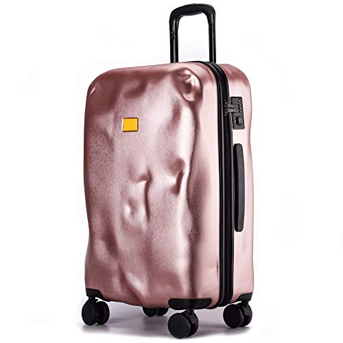 Lightweight Luggage, Expandable Sturdy Durable Thicken Tough with Spinner Wheels Suitcase for Adults Tourism Student Vacation-96L-Rose Gold