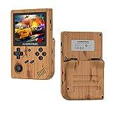 Consola de juegos portátil RG351V, consola de juegos retro Sistema de código abierto RK3326 Chip con tarjeta TF de 64G 2500 Juegos clásicos Pantalla IPS de 3,5 pulgadas Batería de 3900 mAh (Wood)