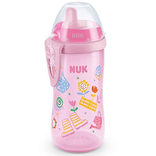 NUK First Choice Kiddy Cup Trinklernbecher | 12+ Monate | auslaufsichere | beißresistenter Trinkschnabel | Clip & Schutzkappe | 300 ml | BPA-frei | Rosa