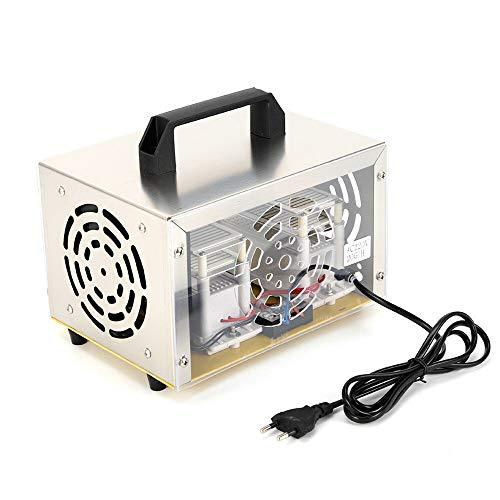 Purificador de aire 20 g/h translúcido, portátil, ozonisador, de acero inoxidable y plástico, 200 W para habitaciones, hogar, hoteles, sótanos, coches