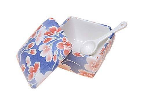 桜染 薬味入 日本製 陶器 スプーン付き 一味 塩 山椒 七味 うどん そば 豆板醤 辛子 業務用食器 ACSWEBSHOPオリジナル