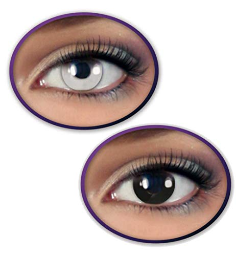 KarnevalsTeufel Kontaktlinsen-Set Black & White 2 farbige Linsen in schwarz und weiß