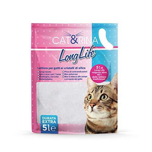 Cat&Rina Long Life - Arenero para Gatos con Cristales de silicio hipoalergénico...