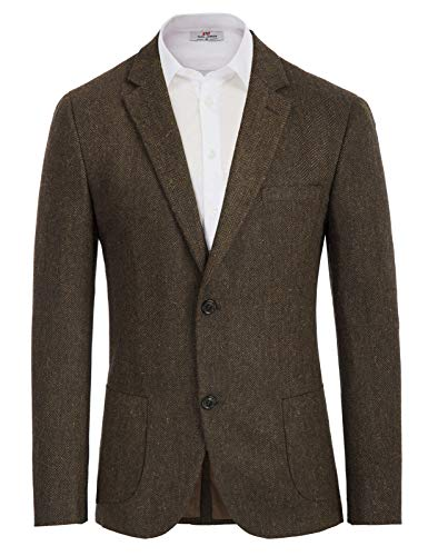 COOFANDY Mens Casual Slim Fit Blazer 3 Button Suit Sport Coat Lightweight Jacket (Large, Type 1 Brown)
