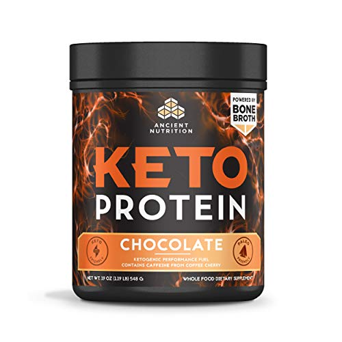 Ancient Nutrition KetoPROTEIN Powder Chocolate, Keto Protein Diet Supplement, High Quality Low Carb Proteins and Fats from Bone Broth and MCT Oil, 17 Servings