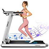 FUNMILY Treadmill,Treadmills for Home,Folding Electric Treadmill,Walking/Running Portable Treadmill Machine with Extra-Large Table, Bluetooth Speaker & Large LCD Monitor for Gym or Office. (Silver)