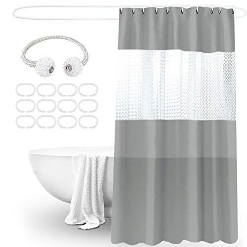 Duschvorhang 180x200, Shower Curtains Duschvorhänge Anti-Schimmel Badevorhang - Wasserdichter Badezimmervorhang mit Bandage - Grau