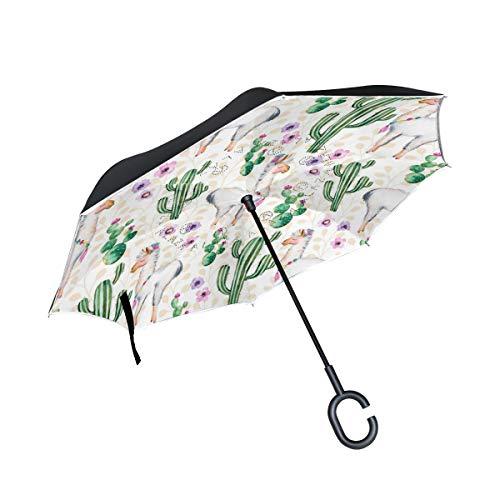 Ahomy Paraguas invertido para Plantas de Cactus Tropicales, flamencos, Doble Cortavientos, protección contra la Lluvia, Paraguas con Mango en Forma de C