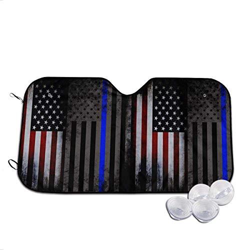 WXM Vintage USA - Parasol para coche, diseño de bandera de policía, color azul
