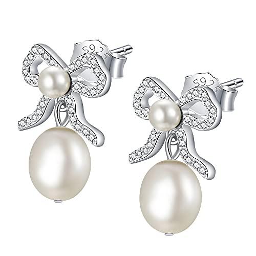 JENDEAR Pendientes Perlas Mujer Plata 925 Perla de Barroca colgantes Regalo de Navidad Nudo Circones Joyas Mujer Niñas Mamá