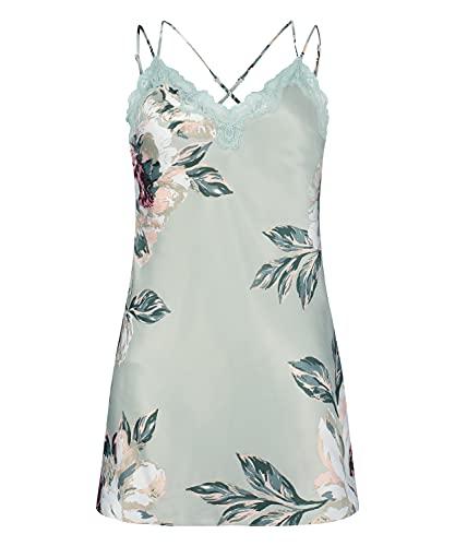 HUNKEMÖLLER Damen Slipdress Painted Flower aus Satin Blau XL