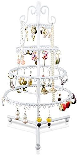 LAUBLUST Schmuckständer im Tanne Design - ca. 35 x 18 x 18 cm, Weiß - Dekorativer Metall Schmuck-Halter 4 verzierte Etagen-Ringe mit Ösen | Schmuck-Aufbewahrung | Ohrring-Ständer | Ketten-Halter