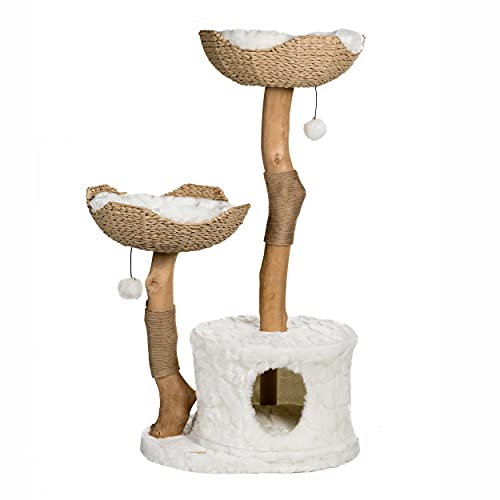 Modern Cat Tree Tower, Real Branch Luxury Cat Condo, Wood...