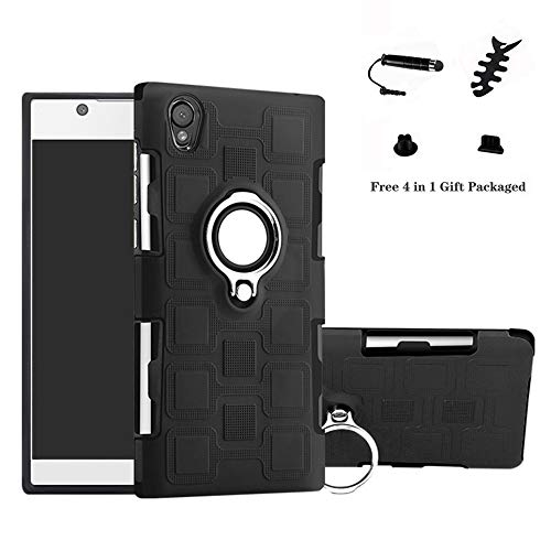 LFDZ Sony Xperia L1 Hülle, 360 Rotation Verstellbarer Ring Grip Stand,Ultra Slim Fit TPU Schutzhülle für Sony Xperia L1 / E6 (mit 4in1 Geschenk Verpackt),Schwarz