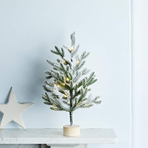 Lights4fun Alberello di Natale Innevato di 35 cm con 20 LED Bianchi Caldi a Pile per Interni