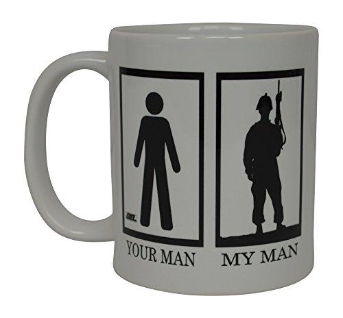 Military Wife Coffee Mug American Novelty Cup Gift For Military Veteran USA Flag