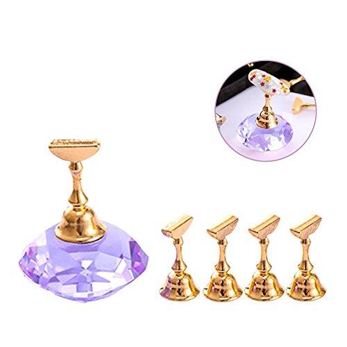 QueenHome - Soporte de práctico para uñas Nail Art Crystal, Consejos para uñas postizas Pedestal en Forma de Diamante, Color Morado