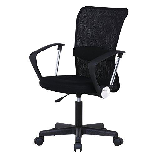 不二貿易 オフィスチェア デスクチェア メッシュ 肘付き 腰サポート ブラック ハンター 90870