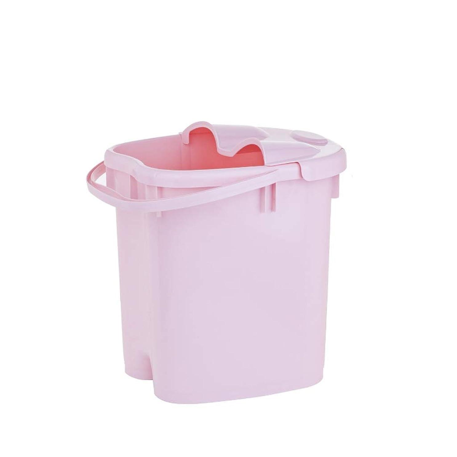 アカウントむしゃむしゃ良心的フットバスバレル- ?AMT携帯用高まりのマッサージの浴槽のふたの熱保存のフィートの洗面器の世帯が付いている大人のフットバスのバケツ Relax foot (色 : Pink, サイズ さいず : 39cm high)