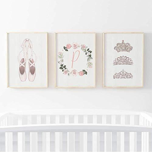 Pom Pom Prints® Lot de 3 cadres photo pour bébé fille Motif ballerine