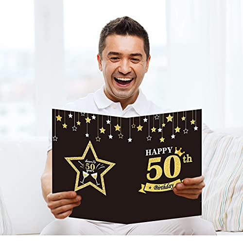 Jumbo 50th Birthday Party Greeting Card Guest Book Happy 50th Birthday Party Decorations Supplies Gifts for Office Women Men Co-Worker -Large 11 x 14 inches