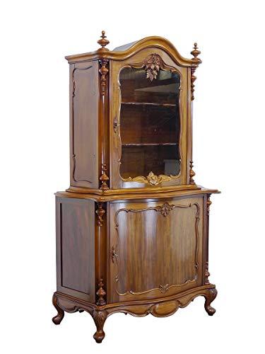 Antiker Vitrinenschrank aus Nussbaum   Buffetschrank Aufsatzschrank   Louis Philippe um 1900   B: 125 cm (9504)