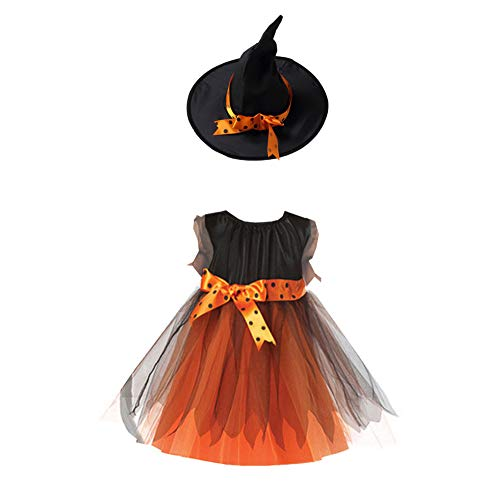Disfraz de Halloween niñas Dazzle Partido del Vestido del corsé del Traje de la Bruja con Sombrero para Halloween 110cm 1Ponga